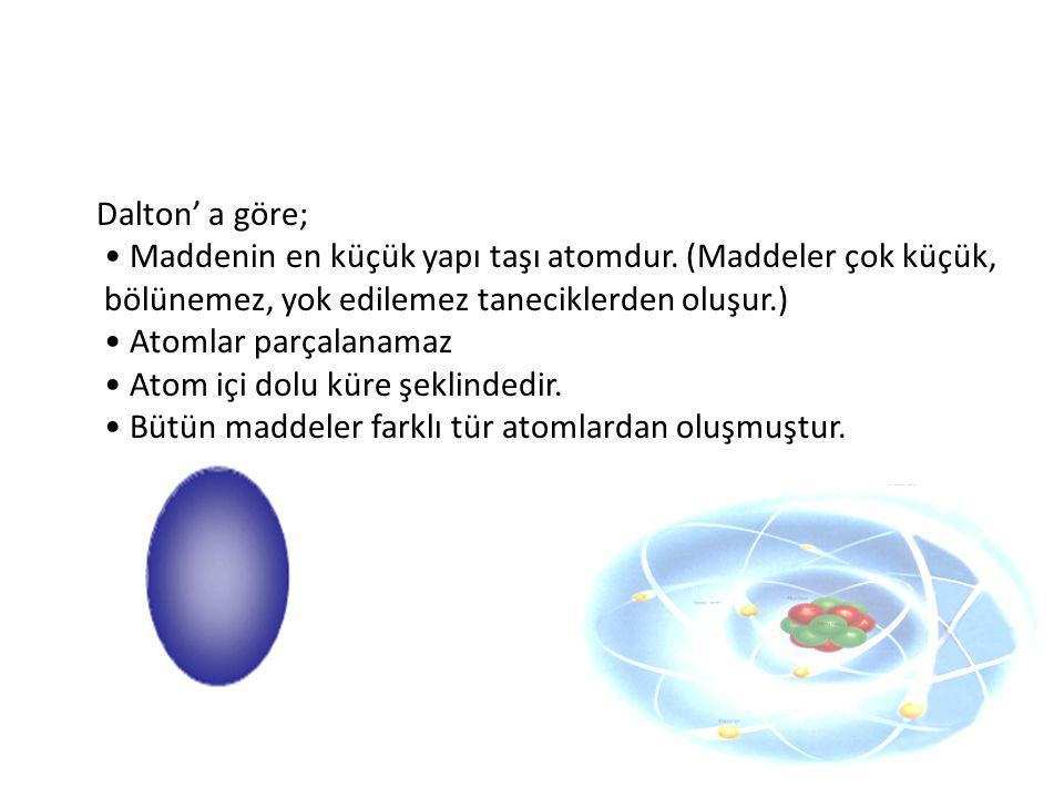 Dalton' a göre; • Maddenin en küçük yapı taşı atomdur