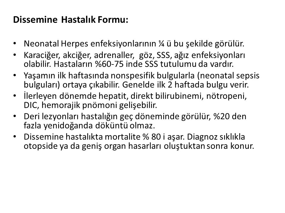 Dissemine Hastalık Formu: