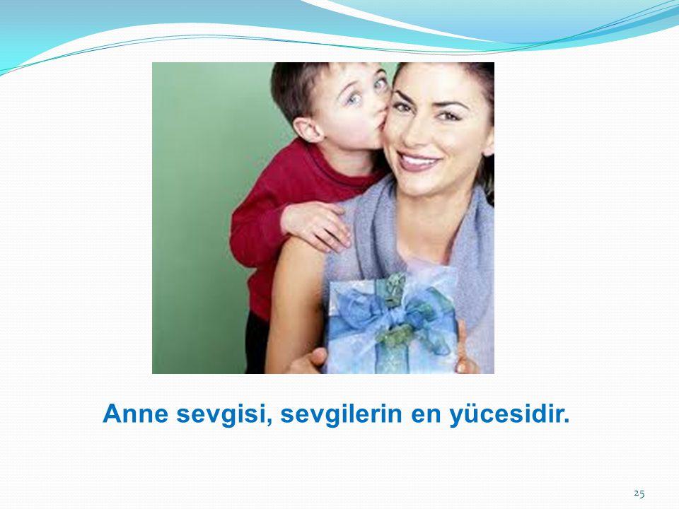 Anne sevgisi, sevgilerin en yücesidir.