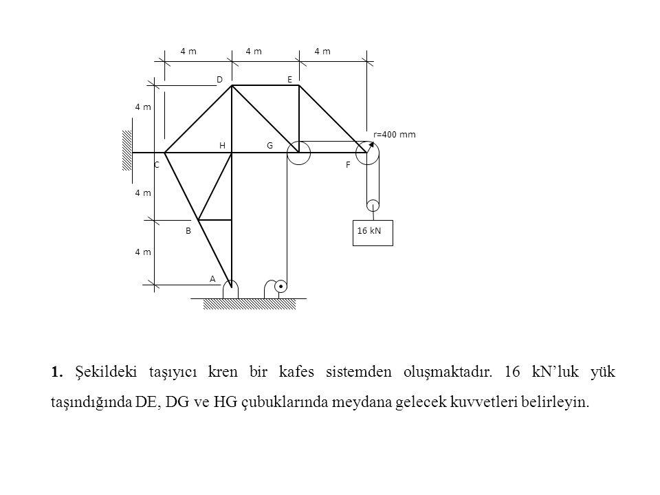 4 m r=400 mm. 16 kN. A. C. D. B. E. F. G. H.
