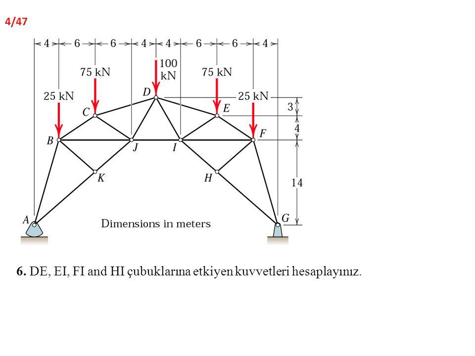 6. DE, EI, FI and HI çubuklarına etkiyen kuvvetleri hesaplayınız.