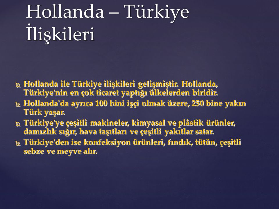 Hollanda – Türkiye İlişkileri