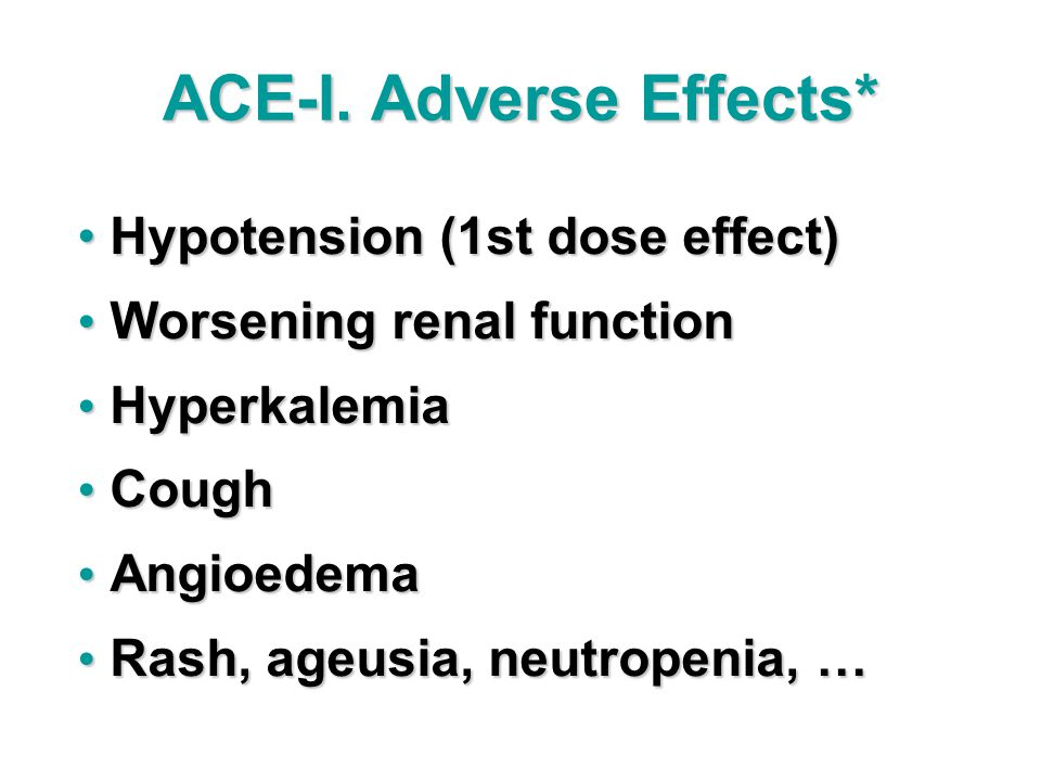 ACE-I. Adverse Effects*