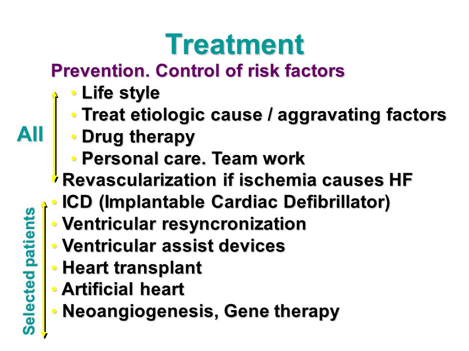 Treatment All Prevention. Control of risk factors Life style
