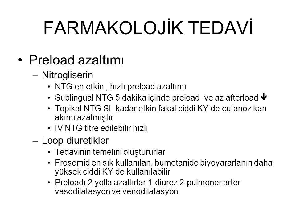 FARMAKOLOJİK TEDAVİ Preload azaltımı Nitrogliserin Loop diuretikler