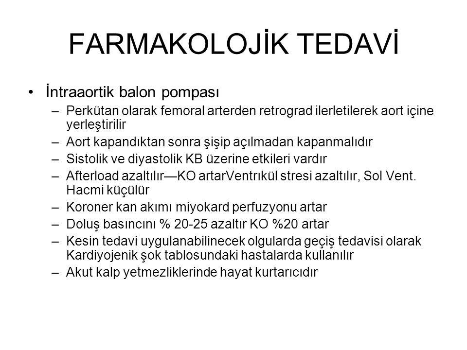 FARMAKOLOJİK TEDAVİ İntraaortik balon pompası