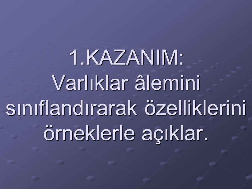 1.KAZANIM: Varlıklar âlemini sınıflandırarak özelliklerini örneklerle açıklar.