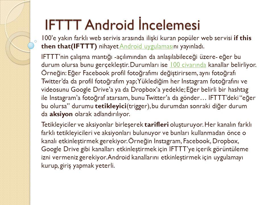 IFTTT Android İncelemesi