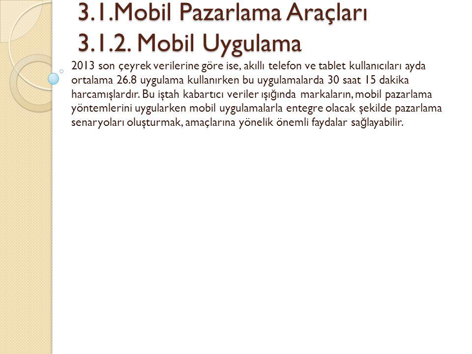 3.1.Mobil Pazarlama Araçları 3.1.2. Mobil Uygulama