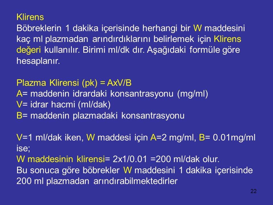 Klirens Böbreklerin 1 dakika içerisinde herhangi bir W maddesini kaç ml plazmadan arındırdıklarını belirlemek için Klirens değeri kullanılır.