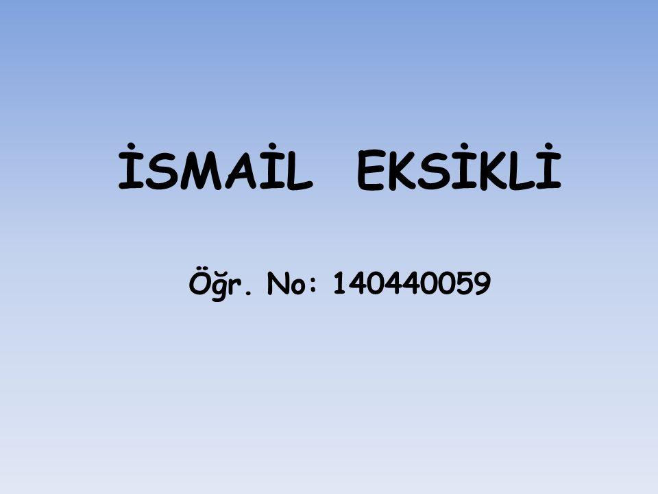 İSMAİL EKSİKLİ Öğr. No: 140440059