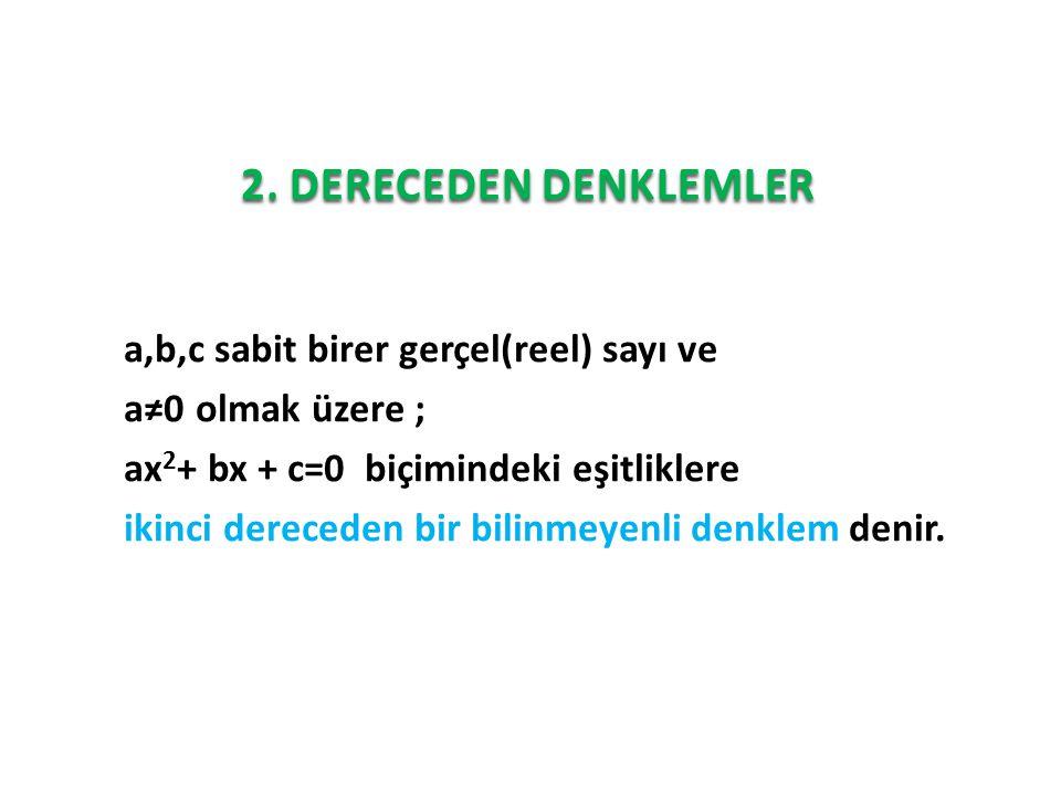 2. DERECEDEN DENKLEMLER a,b,c sabit birer gerçel(reel) sayı ve