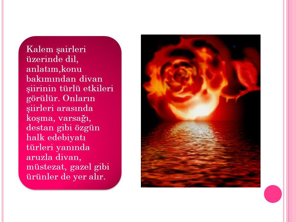 Kalem şairleri üzerinde dil, anlatım,konu bakımından divan şiirinin türlü etkileri görülür.