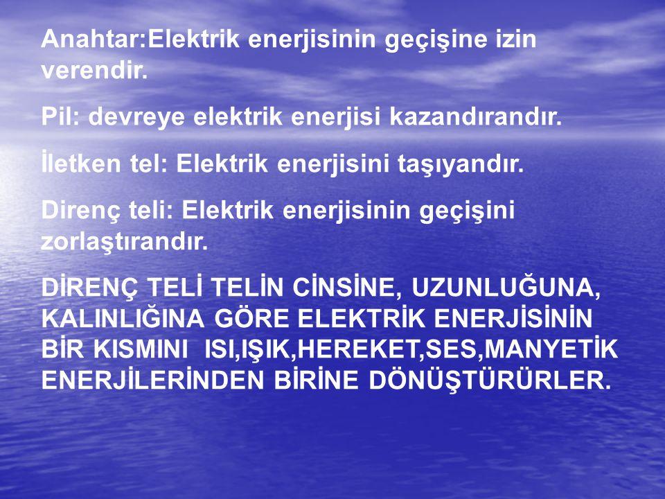 Anahtar:Elektrik enerjisinin geçişine izin verendir.