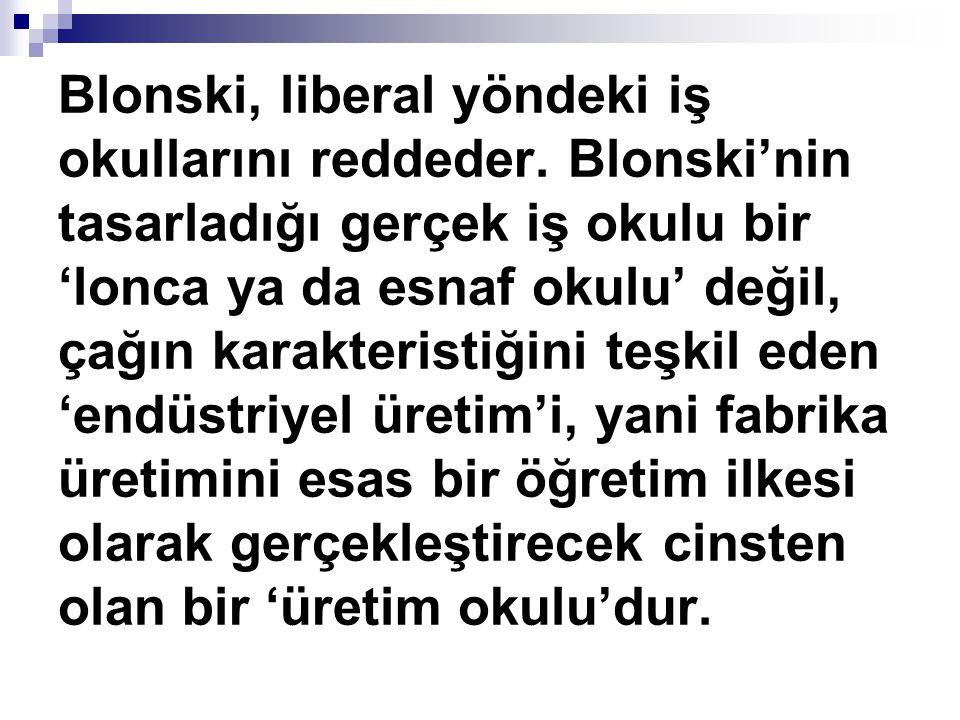 Blonski, liberal yöndeki iş okullarını reddeder