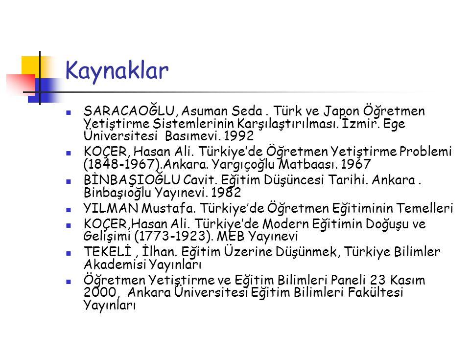 Kaynaklar SARACAOĞLU, Asuman Seda . Türk ve Japon Öğretmen Yetiştirme Sistemlerinin Karşılaştırılması. İzmir. Ege Üniversitesi Basımevi. 1992.