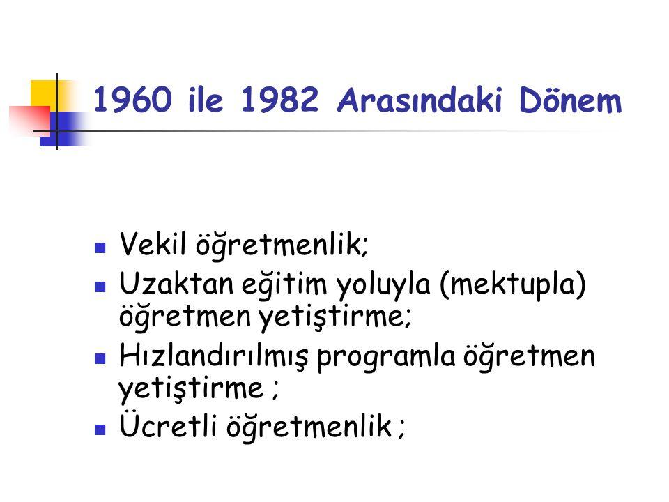 1960 ile 1982 Arasındaki Dönem Vekil öğretmenlik;