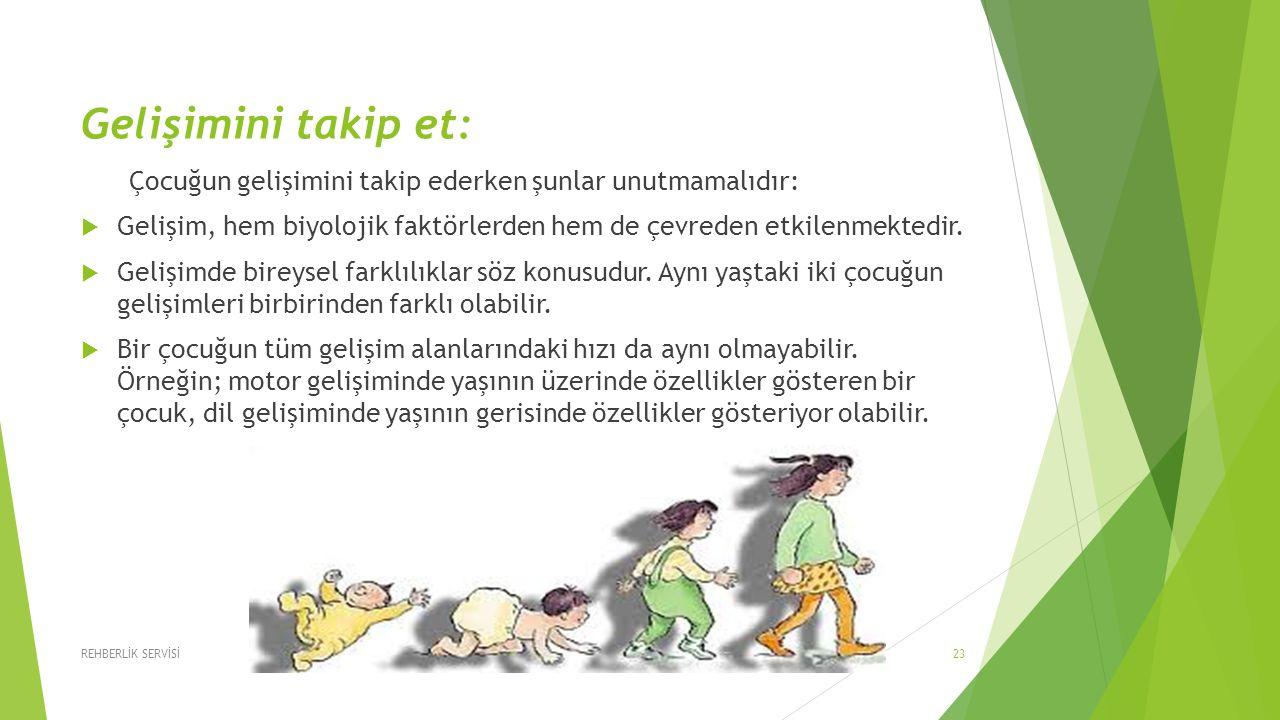 Gelişimini takip et: Çocuğun gelişimini takip ederken şunlar unutmamalıdır: Gelişim, hem biyolojik faktörlerden hem de çevreden etkilenmektedir.