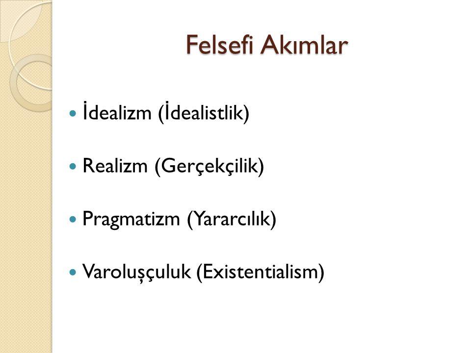 Felsefi Akımlar İdealizm (İdealistlik) Realizm (Gerçekçilik)