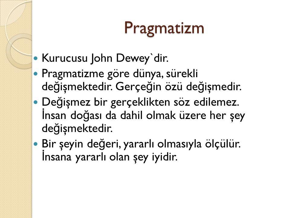 Pragmatizm Kurucusu John Dewey`dir.