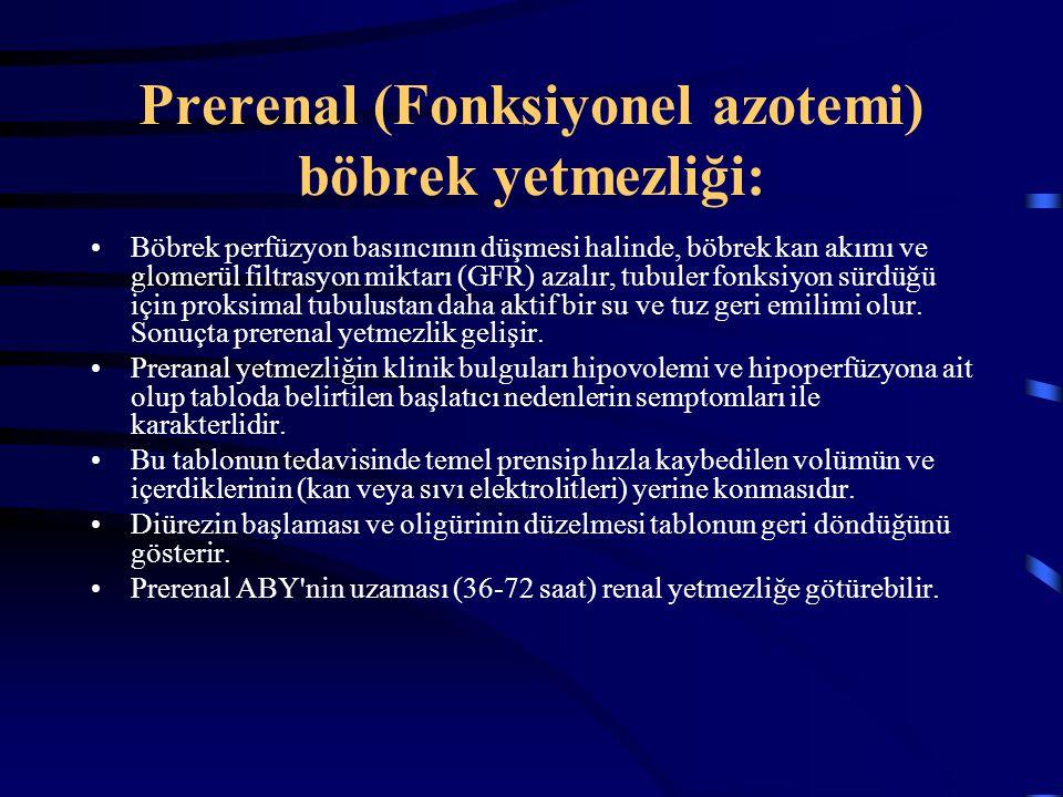 Prerenal (Fonksiyonel azotemi) böbrek yetmezliği: