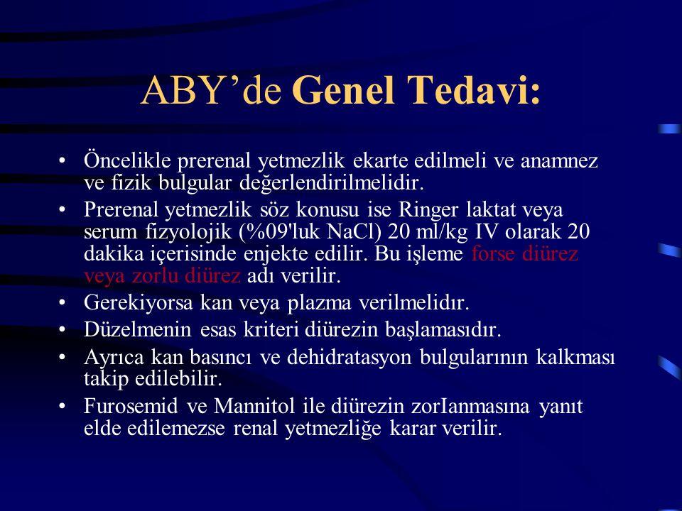 ABY'de Genel Tedavi: Öncelikle prerenal yetmezlik ekarte edilmeli ve anamnez ve fizik bulgular değerlendirilmelidir.