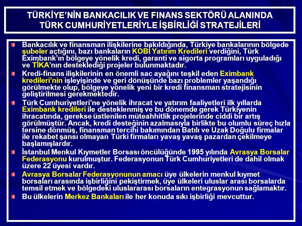 TÜRKİYE'NİN BANKACILIK VE FINANS SEKTÖRÜ ALANINDA TÜRK CUMHURİYETLERİYLE İŞBİRLİĞİ STRATEJİLERİ