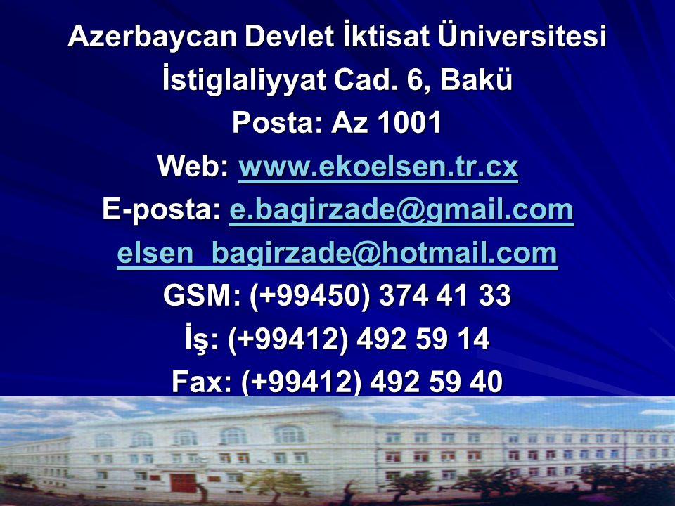 Azerbaycan Devlet İktisat Üniversitesi İstiglaliyyat Cad. 6, Bakü