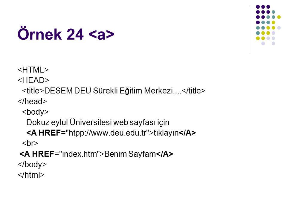 Örnek 24 <a> <HTML> <HEAD>