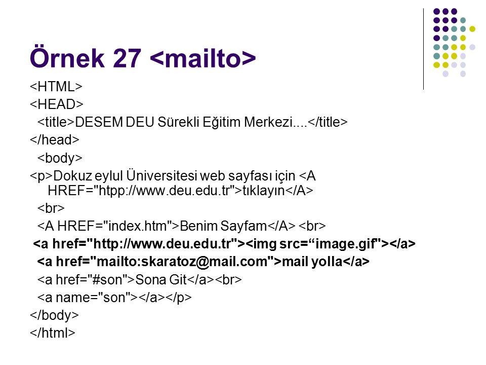 Örnek 27 <mailto> <HTML> <HEAD>