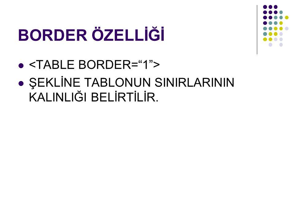BORDER ÖZELLİĞİ <TABLE BORDER= 1 >