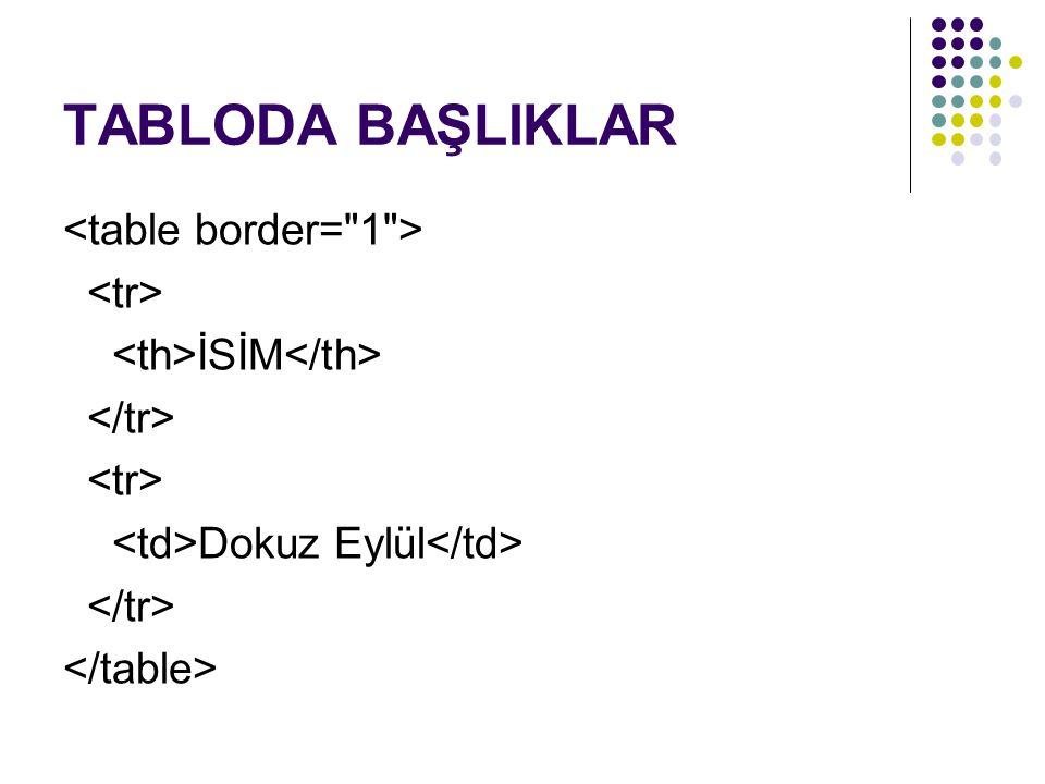 TABLODA BAŞLIKLAR <table border= 1 > <tr>