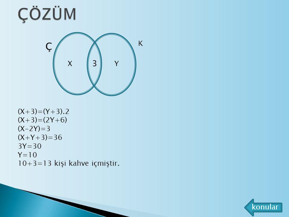 ÇÖZÜM Ç 3 K X Y (X+3)=(Y+3).2 (X+3)=(2Y+6) (X-2Y)=3 (X+Y+3)=36 3Y=30