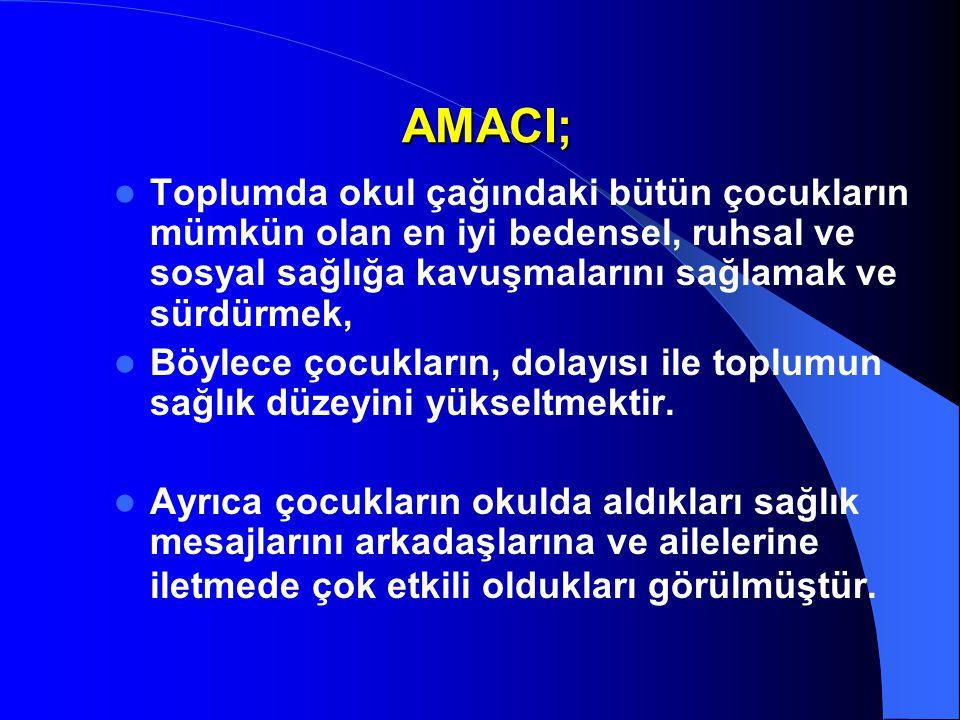 AMACI; Toplumda okul çağındaki bütün çocukların mümkün olan en iyi bedensel, ruhsal ve sosyal sağlığa kavuşmalarını sağlamak ve sürdürmek,
