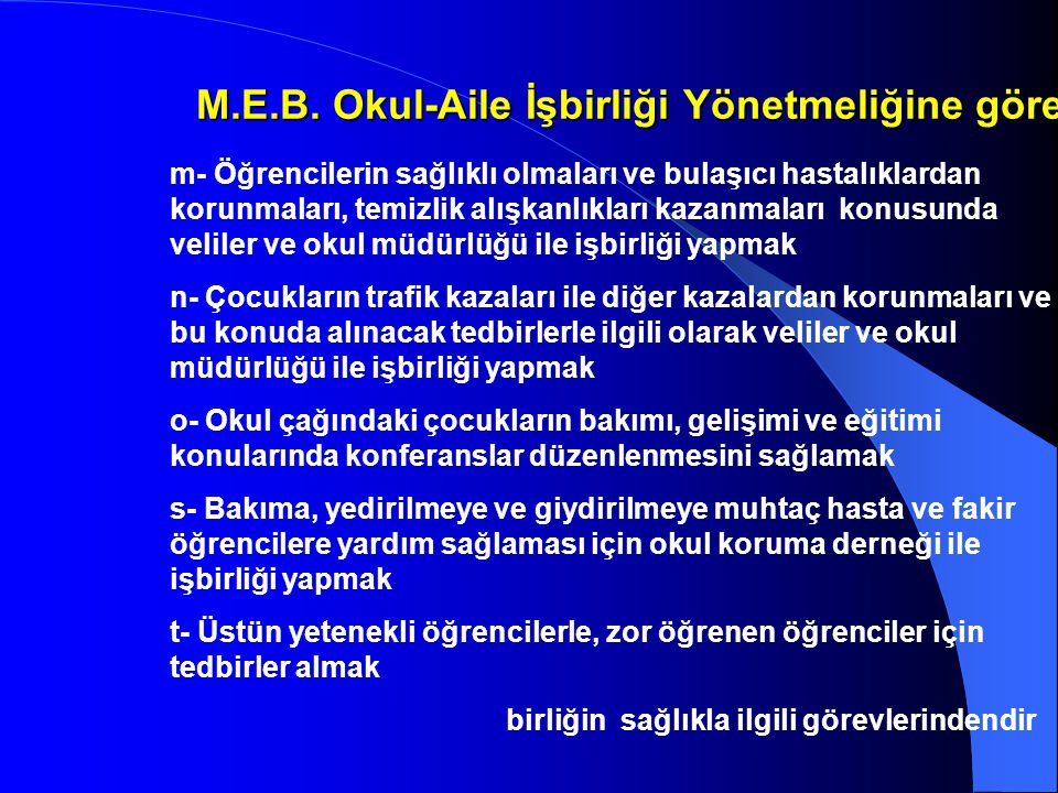 M.E.B. Okul-Aile İşbirliği Yönetmeliğine göre;