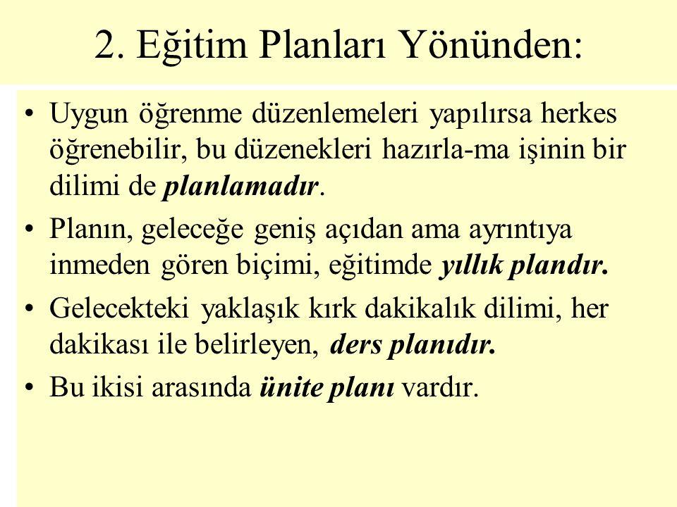 2. Eğitim Planları Yönünden: