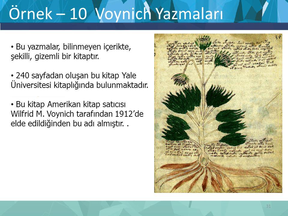 Örnek – 10 Voynich Yazmaları