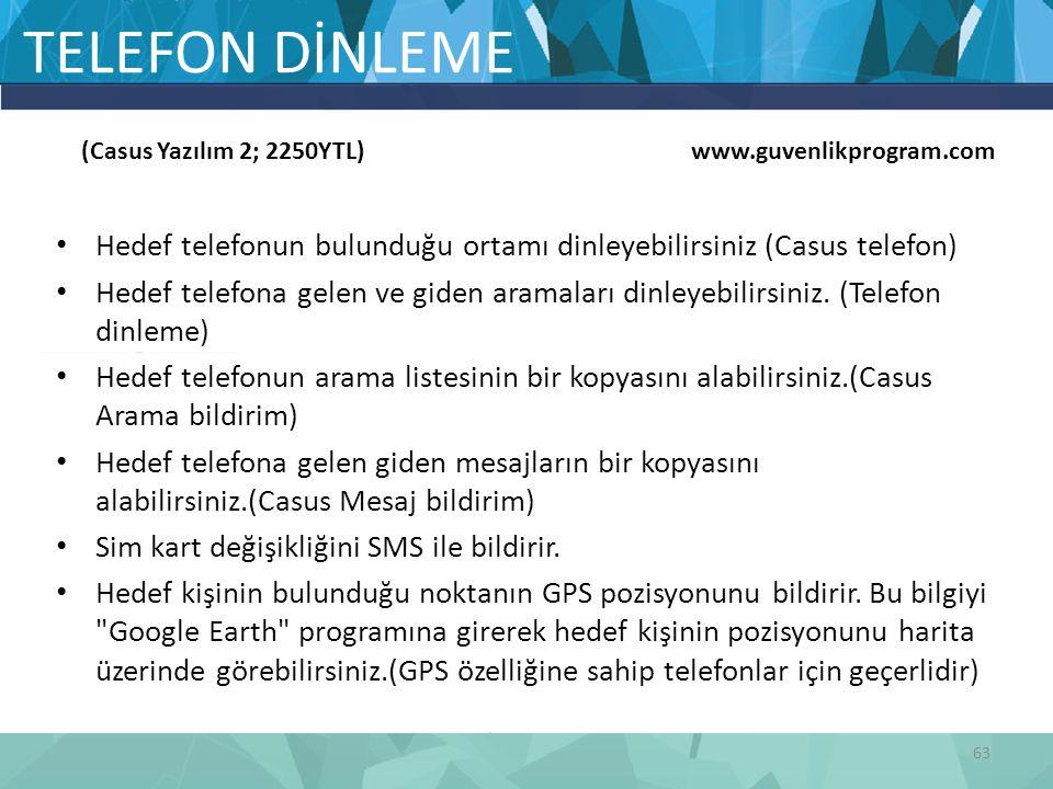 TELEFON DİNLEME (Casus Yazılım 2; 2250YTL) www.guvenlikprogram.com.