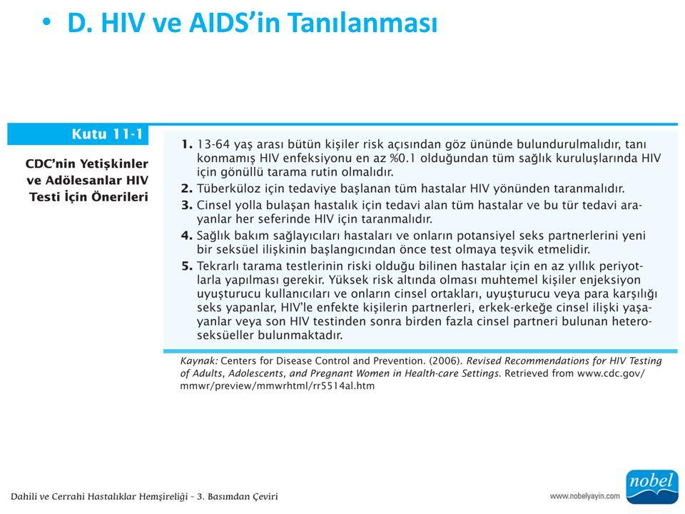 D. HIV ve AIDS'in Tanılanması
