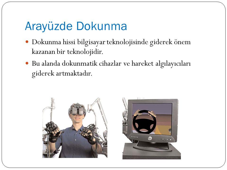 Arayüzde Dokunma Dokunma hissi bilgisayar teknolojisinde giderek önem kazanan bir teknolojidir.