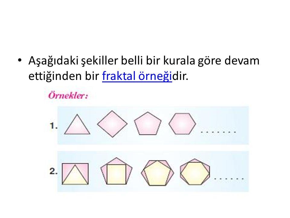 Aşağıdaki şekiller belli bir kurala göre devam ettiğinden bir fraktal örneğidir.