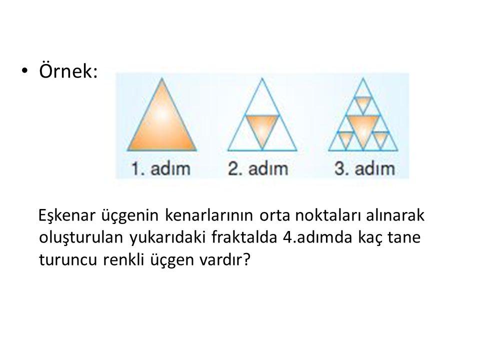 Örnek: Eşkenar üçgenin kenarlarının orta noktaları alınarak oluşturulan yukarıdaki fraktalda 4.adımda kaç tane turuncu renkli üçgen vardır