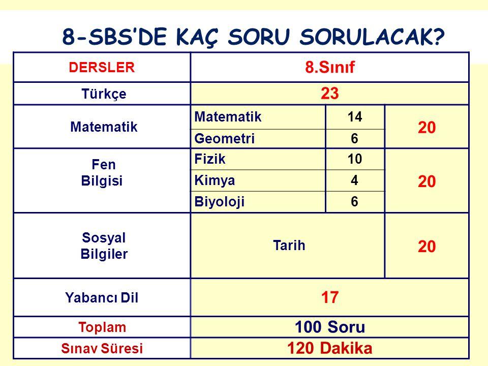 8-SBS'DE KAÇ SORU SORULACAK