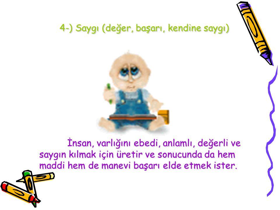 4-) Saygı (değer, başarı, kendine saygı)