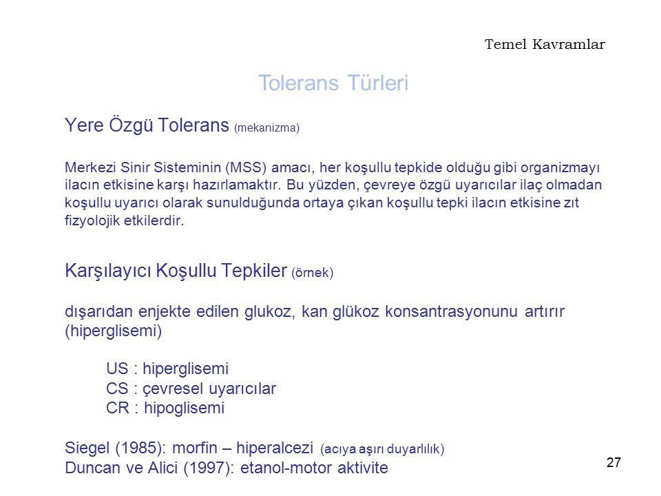 Temel Kavramlar Tolerans Türleri.