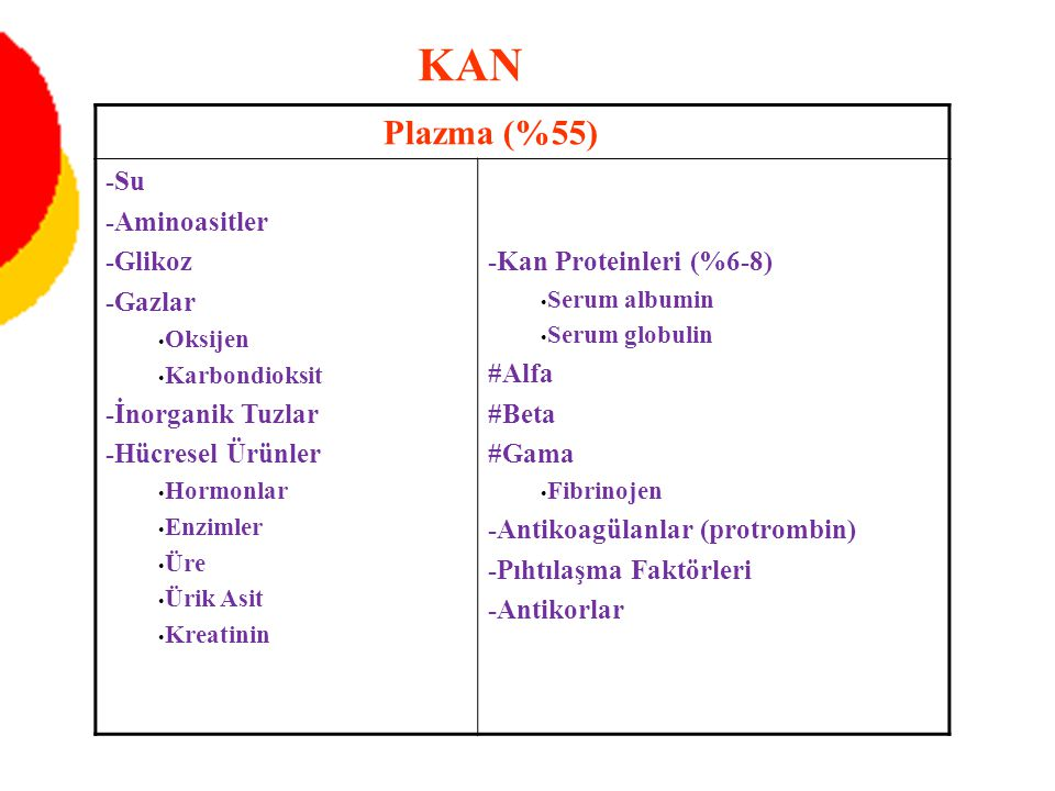 KAN Plazma (%55) -Su -Aminoasitler -Glikoz -Gazlar -İnorganik Tuzlar