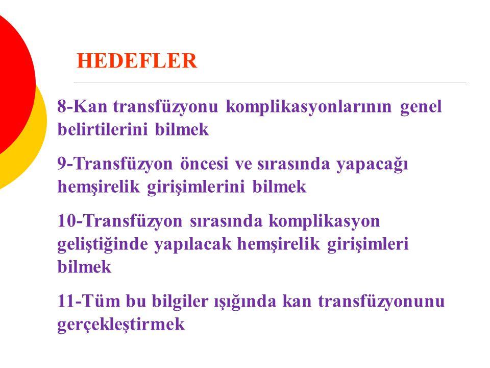 HEDEFLER 8-Kan transfüzyonu komplikasyonlarının genel belirtilerini bilmek.