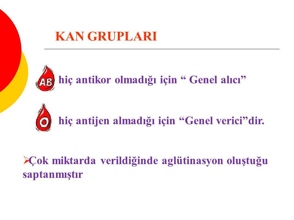 KAN GRUPLARI hiç antikor olmadığı için Genel alıcı