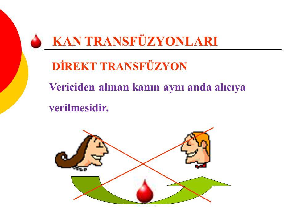 Vericiden alınan kanın aynı anda alıcıya verilmesidir.