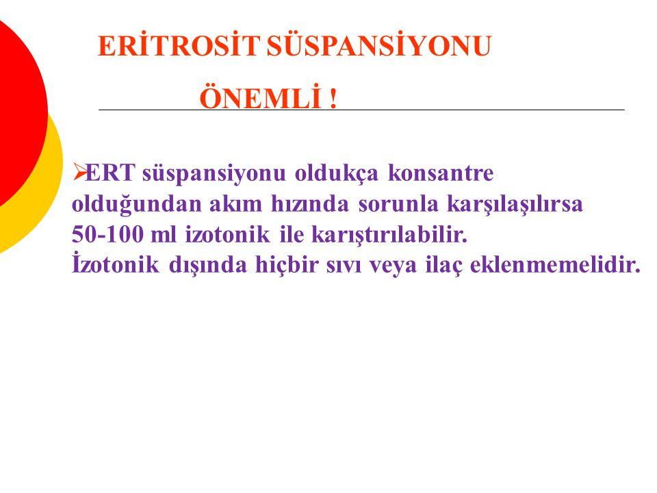 ERİTROSİT SÜSPANSİYONU ÖNEMLİ !
